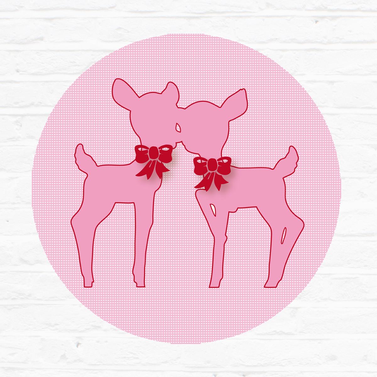 Little tulip muursticker roze hertjes  bambi deer herfst lief bed ledikant wieg kinderkamer babykamer babyuitzet meisje steigerhout