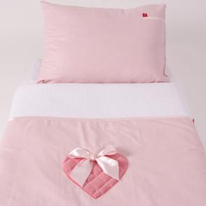 Little Tulip eco Dekbedovertrekset roze hart luxe velours roze pastel wieg ledikant dekbed bed slapen kinderkamer slaapkamer babykamer babyuitzet meisje steigerhout