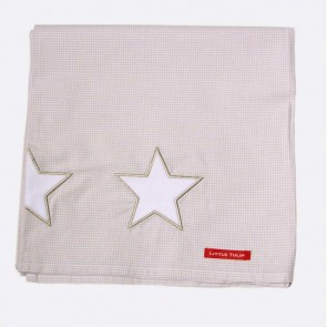Ledikantlaken sterren karamel/wit