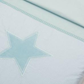 Little tulip eco dekbedovertrekset ster aqua, little star, eco dekbed bed slapen ruitjes kinderkamer babykamer babyuitzet jongen unisex meisje steigerhout