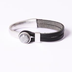 Armband Gwen grijs -  diep zwart leer