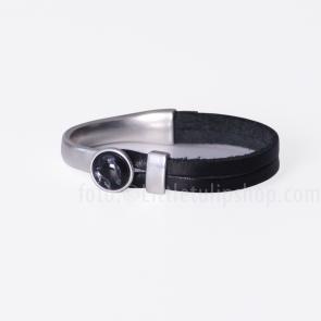 Armband Gwen zwart -  diep zwart leer
