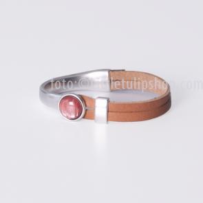 Armband Gwen oud roze - naturel leer