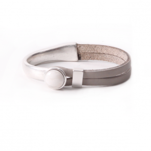 Armband Gwen white - leer in steengrijs