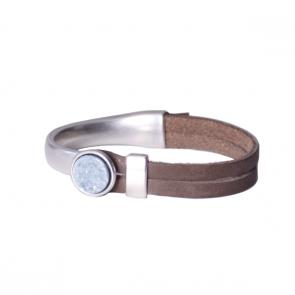 Armband Gwen - taupe leer met grijs/blauwe steen