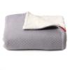 Deken/plaid warm grey/creme